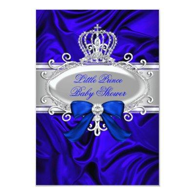 Little Prince Royal Blue Baby Shower Invite
