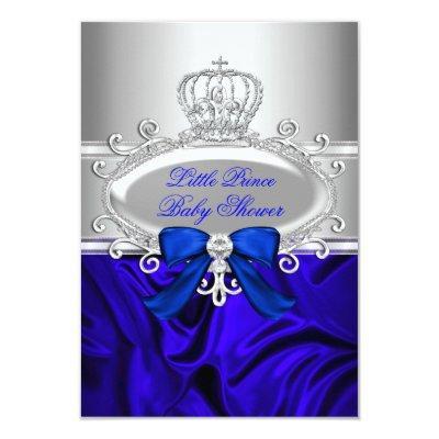 Little Prince Royal Blue Baby Shower Invite