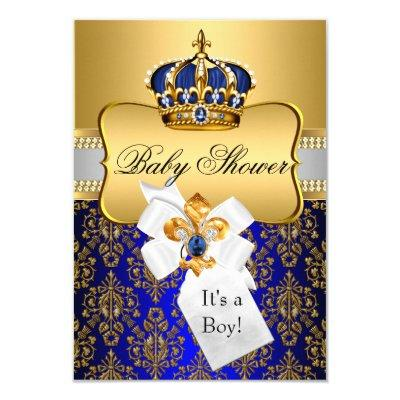 Little Prince Royal Blue Crown Invite