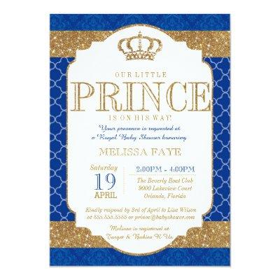Little Prince Royal Blue Gold Baby Shower Invitation