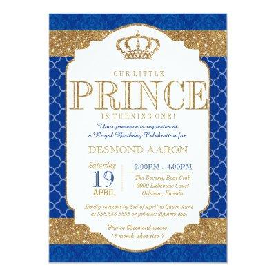 Little Prince Royal Blue Gold Birthday or Shower Invitation