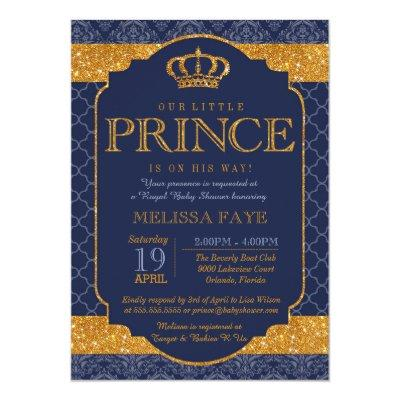 Little Prince Royal Navy Blue Gold Baby Shower Invitations