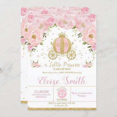 Little Princess Baby Shower Carriage Pink Floral Invitation