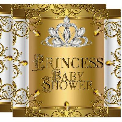 Little Princess Baby Shower Girl Gold White Invitation