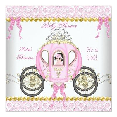 Little Princess Baby Shower Girl Pink Carriage 2 Invitations