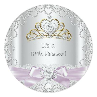 Little Princess Baby Shower Girl Pink Pearl Gold B Invitation