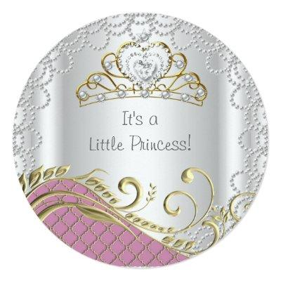 Little Princess Baby Shower Girl Pink Pearl Gold Invitation