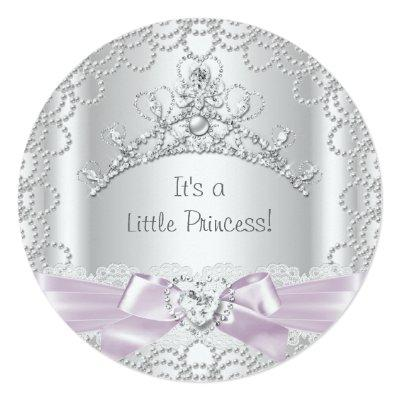 Little Princess Baby Shower Girl Pink White Pearl Invitation