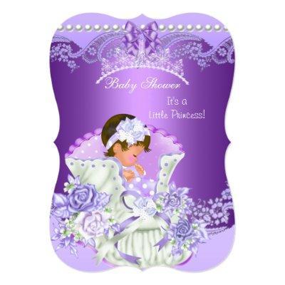 Little Princess Baby Shower Girl Purple Tiara B Invitation
