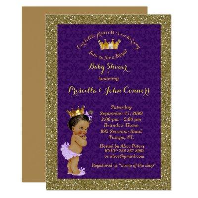 Little Princess Baby Shower Invitations,gold,purple Invitations