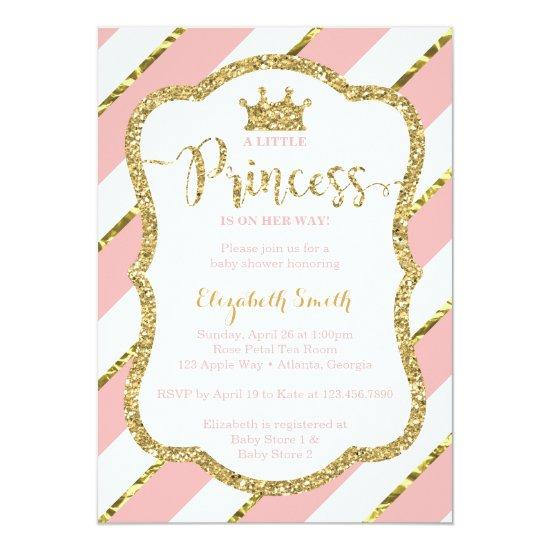 Little Princess Baby Shower Invitations, Pink, Gold Card