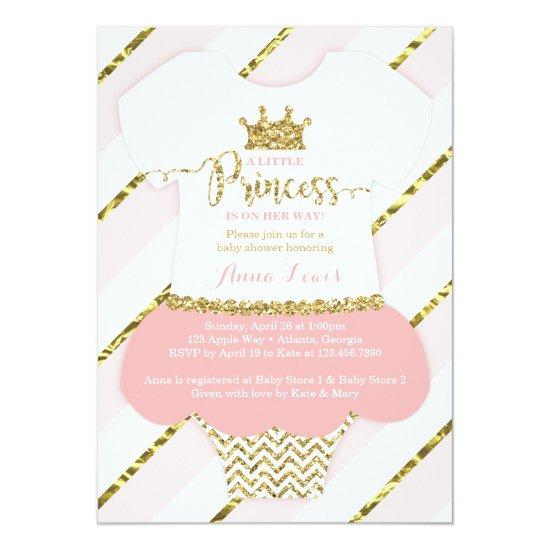 Little Princess Baby Shower Invitation, Pink, Gold Card
