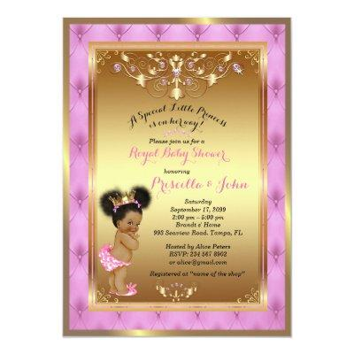 Little Princess Baby Shower Invitation, Pink, gold Invitation
