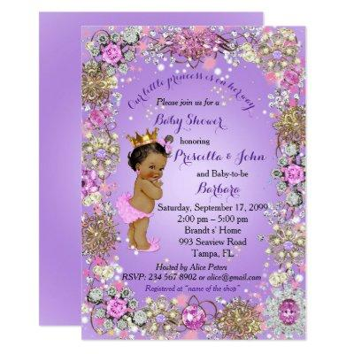 Little Princess Baby Shower Invitation,purple gold Invitation
