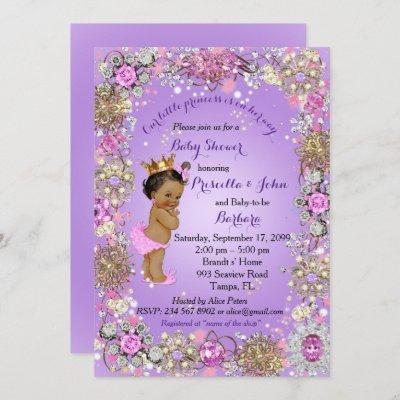 Little Princess Baby Shower Invitation,purple gold Invitation