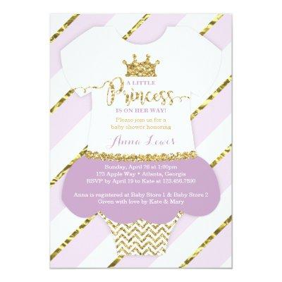 Little Princess Invite, Faux Glitter Invitations