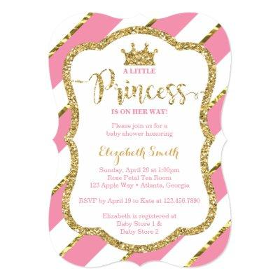 Little Princess Baby Shower Invite, Faux Glitter Invitations