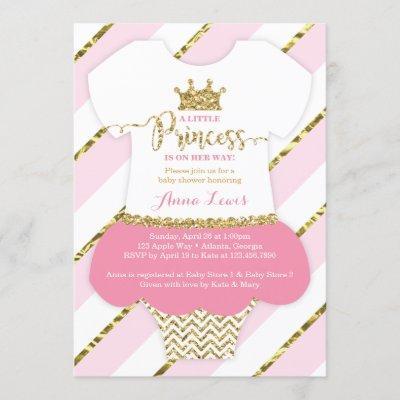 Little Princess Baby Shower Invite, Faux Glitter Invitation