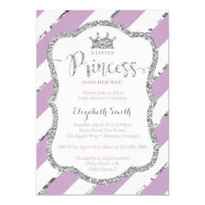 Purple and silver baby shower baby shower invitations baby shower little princess baby shower invite faux glitter invitations filmwisefo