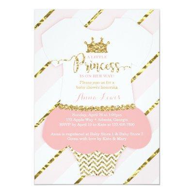 Little Princess Baby Shower Invite, Faux Glitter Invitations