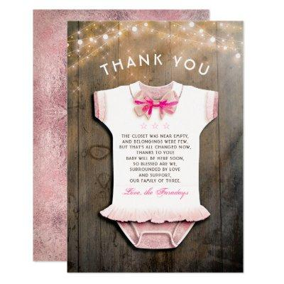 Little Princess Baby Shower | Rustic Thank You Invitation