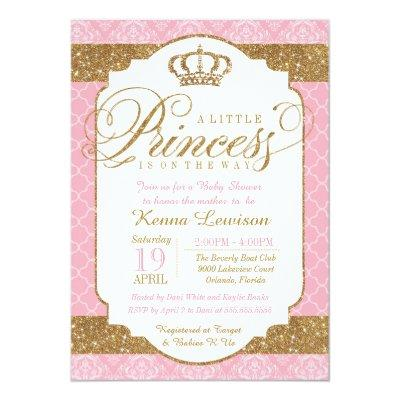 Little Princess Royal Pink and Gold Invitations