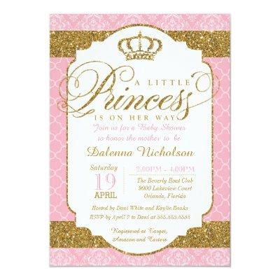 Little Princess Royal Pink and Gold Baby Shower Invitations