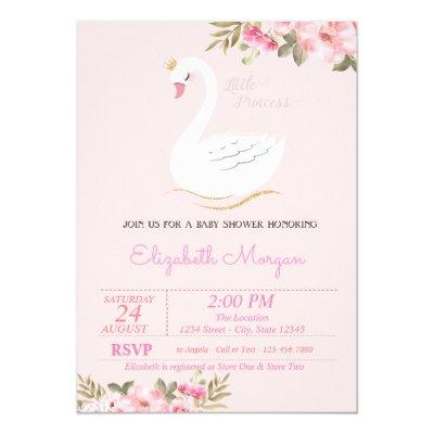 Little Princess, Swan, Floral Baby Shower Invitation