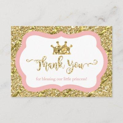 Little Princess Thank You Invitations, Pink, Faux Glitter
