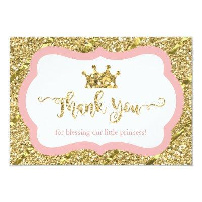 Little Princess Thank You Invitations, Pink, Faux Glitter Invitations