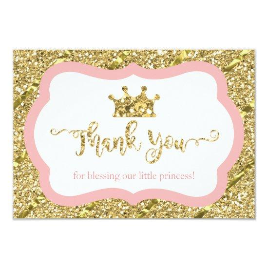 Little Princess Thank You Invitations Pink Gold Glitter