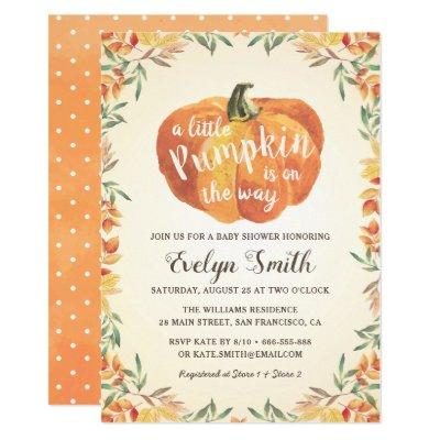 Little Pumpkin Autumn Fall Neutral Baby Shower Invitation