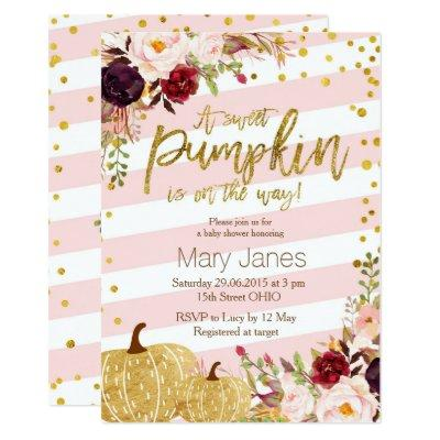 Little Pumpkin Baby Shower Invitations