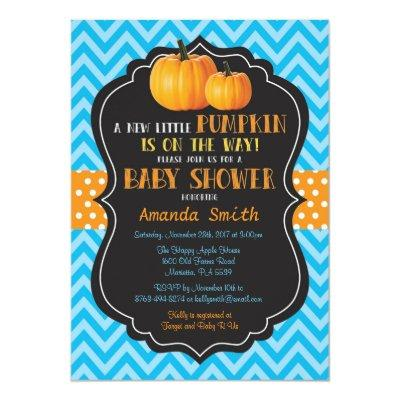 Little Pumpkin  Blue Chevron