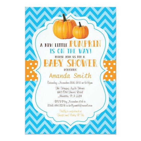 Little Pumpkin Baby Shower Invitations Blue Chevron