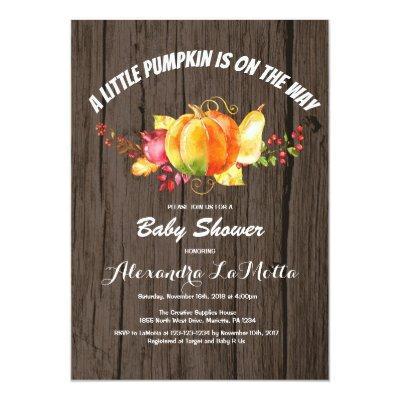 Little Pumpkin Baby Shower Invitation Card