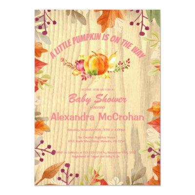 Little Pumpkin Baby Shower Invitations Card