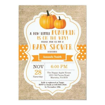Little Pumpkin Baby Shower Invitations Card Burlap