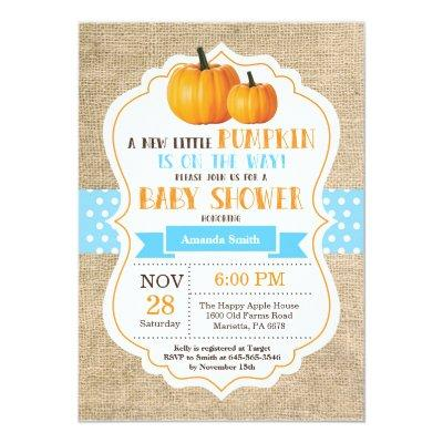 Little Pumpkin  Invitations Burlap