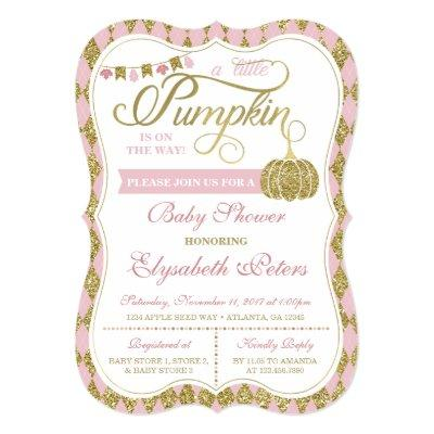 Little Pumpkin , Faux Gold Invitations