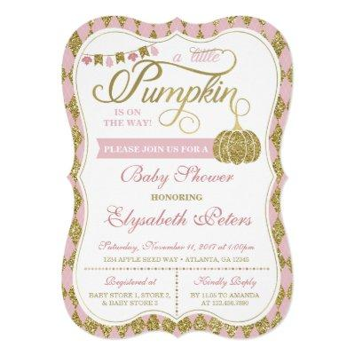 Little Pumpkin Baby Shower Invitations, Faux Gold Invitations