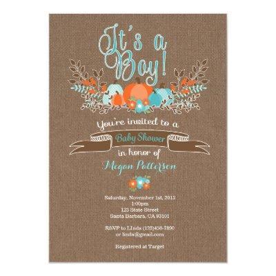 Little Pumpkin Baby Shower Invitation for Boy