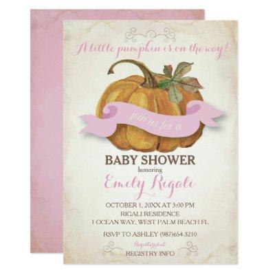 Little Pumpkin Invitations - Girl