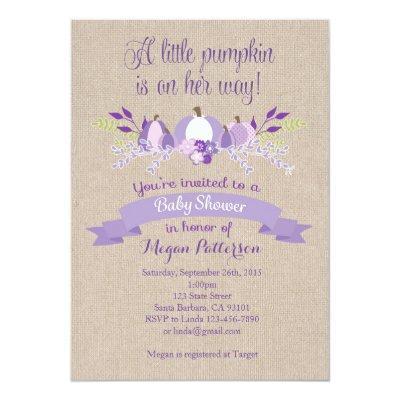 Little Pumpkin Invitation- Lavender Invitations
