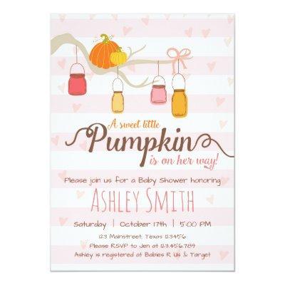 Little Pumpkin Baby Shower Invitations Mason Jars