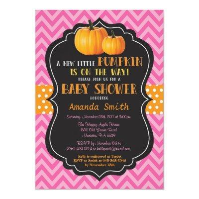 Little Pumpkin Baby Shower Invitation Pink Chevron