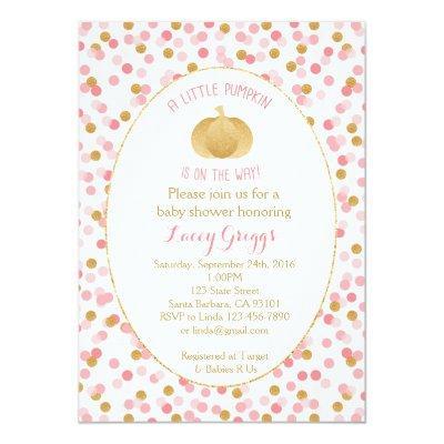 Little Pumpkin Invitation- Pink Gold Invitations