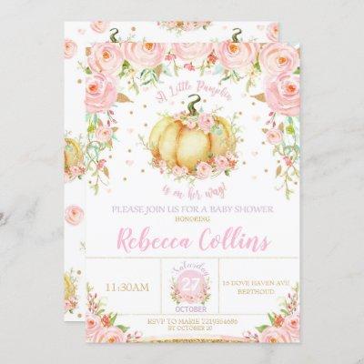 Little Pumpkin Baby Shower Pink Floral Baby Girl Invitation