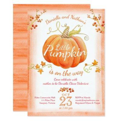 Little pumpkin baby shower watercolor invitations
