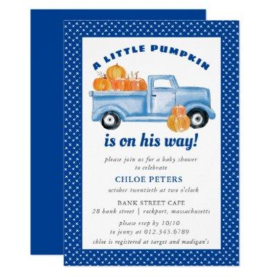Little Pumpkin Boy Blue Truck Fall Baby Shower Invitation